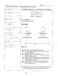 Precalculus Worksheet ~ Graphing Exponential Functions
