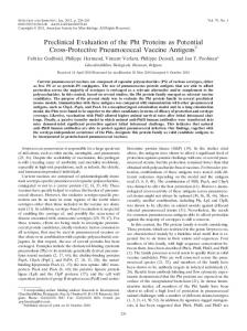 Preclinical Evaluation of the Pht Proteins as Potential Cross-Protective ...