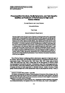 Precompetition Emotions, Bodily Symptoms, and Task ... - CiteSeerX