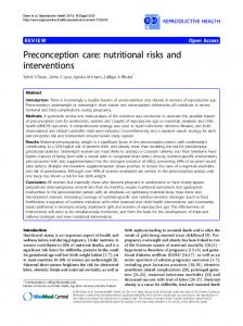 Preconception care: nutritional risks and interventions - CiteSeerX