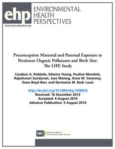Preconception Maternal and Paternal Exposure to Persistent Organic ...