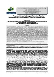 Preconceptions of Pedagogical Formation Teacher Candidates about ...