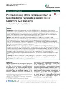 Preconditioning offers cardioprotection in hyperlipidemic rat hearts ...