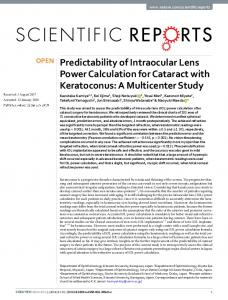 Predictability of Intraocular Lens Power Calculation for ... - Nature