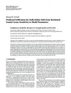 Predicted Infiltration for Sodic/Saline Soils from Reclaimed Coastal ...