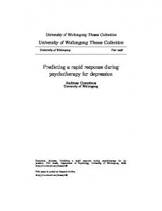 Predicting a rapid response during psychotherapy for