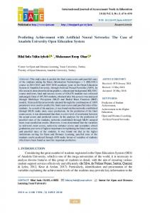 Predicting Achievement with Artificial Neural Networks ... - DergiPark