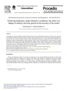 Predicting Bankruptcy under Alternative Conditions: The Effect ... - Core