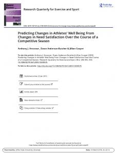 Predicting Changes in Athletes' Well Being From