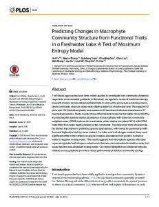 Predicting Changes in Macrophyte Community Structure ... - CiteSeerX