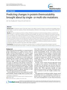 Predicting changes in protein thermostability brought ... - CiteSeerX