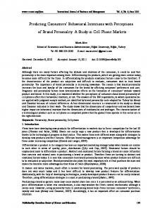 Predicting Consumers' Behavioral Intentions with ... - Journals