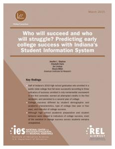 Predicting early college success with Indiana's Student Information