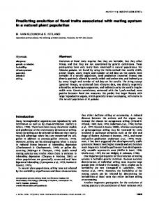 Predicting evolution of floral traits associated ... - Wiley Online Library