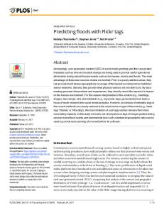 Predicting floods with Flickr tags - Plos
