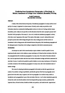 Predicting from Introductory Paragraphs: A Pilot Study in ... - PAAL Japan