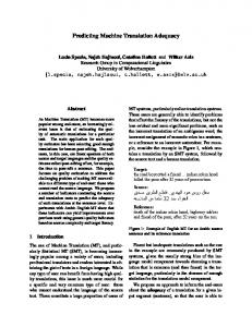 Predicting Machine Translation Adequacy - Research Group in