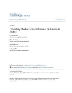 Predicting Medical Student Success on Licensure Exams