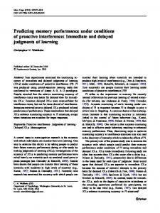 Predicting memory performance under conditions of ... - Springer Link