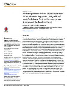 Predicting Protein-Protein Interactions from ... - Semantic Scholar