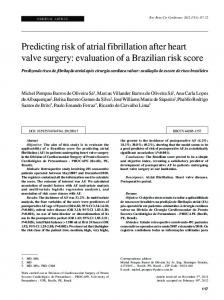Predicting risk of atrial fibrillation after heart valve surgery: evaluation
