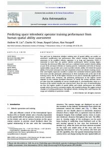Predicting space telerobotic operator training performance from ...