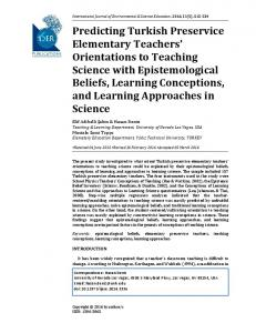 Predicting Turkish Preservice Elementary Teachers' Orientations to ...