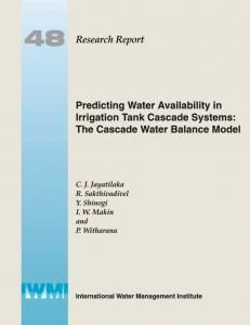 Predicting Water Availability in Irrigation Tank Cascade Systems