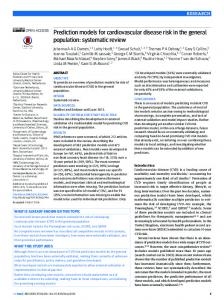 Prediction models for cardiovascular disease risk in the ... - The BMJ