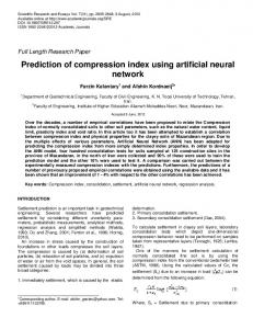 Prediction of compression index using artificial neural ... - CiteSeerX