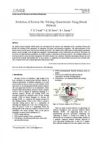 Prediction of Friction Stir Welding Characteristic Using Neural Network