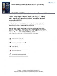 Prediction of geotechnical properties of clayey soils