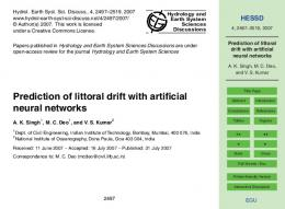 Prediction of littoral drift with artificial neural networks - CiteSeerX