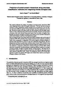 Prediction of protein-protein interactions using one ... - Semantic Scholar