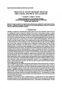 Prediction of Protein secondary structure using Logical ... - CiteSeerX