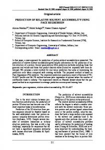 PREDICTION OF RELATIVE SOLVENT ACCESSIBILITY USING PACE ...