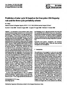 Prediction of solar cycle 24 based on the Gnevyshev-Ohl ... - CiteSeerX