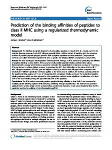 Prediction of the binding affinities of peptides to class ... - BioMedSearch