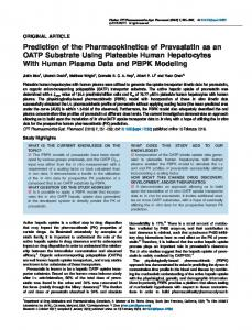 Prediction of the Pharmacokinetics of Pravastatin as ... - ASCPT - Wiley