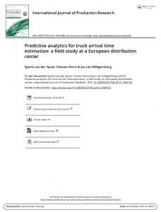 Predictive analytics for truck arrival time estimation