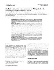 Predictive factors for local recurrence in 2006 patients with surgically ...