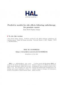 Predictive models for side effects following radiotherapy for prostate ...