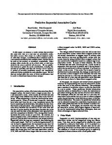 Predictive Sequential Associative Cache - UCSD CSE