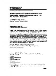 Predictive validity of the Children's Attributional - Developmental ...