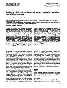 Predictive validity of ventilatory and lactate thresholds for cycling time ...