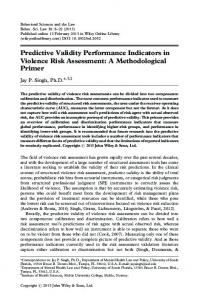 Predictive Validity Performance Indicators in Violence Risk Assessment