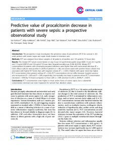 Predictive value of procalcitonin decrease in patients with ... - CiteSeerX