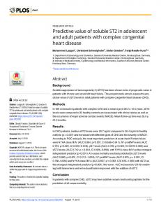 Predictive value of soluble ST2 in adolescent and adult ... - PLOS