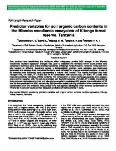 Predictor variables for soil organic carbon contents