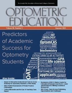 Predictors of Academic Success for Optometry Students